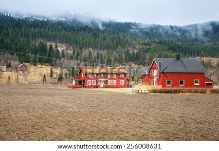 Rural Norwegian landscape with red wooden houses and foggy forest on hills - stock photo