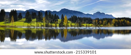 rural panorama landscape in Bavaria, Germany - stock photo