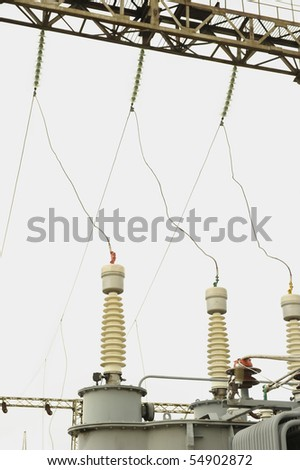 Rural power station in cloudy day - stock photo