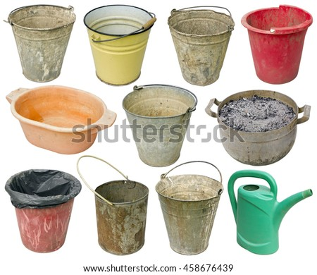 Rural real old used  metal and plastic buckets for water, garbage and weeds. One orange basin for washing of legs and a green watering can. Isolated  on white set