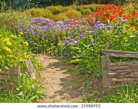 rural retro fences in the country garden - stock photo