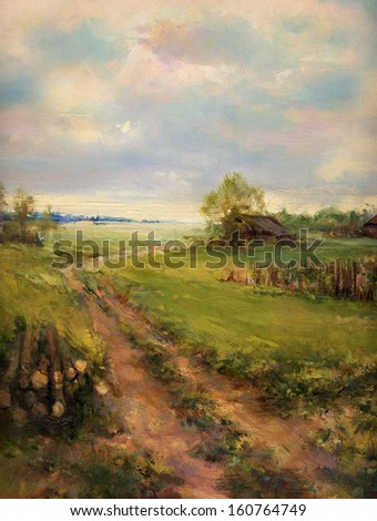 rural retro scene landscape painting - oil painting on canvas - stock photo