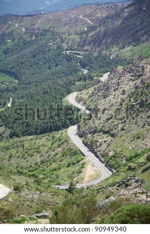 rural road at Gredos mountains in Avila Spain - stock photo