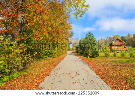 Rural road in autumn landscape with mountain houses in background, Beskid Niski Mountains, Poland  - stock photo