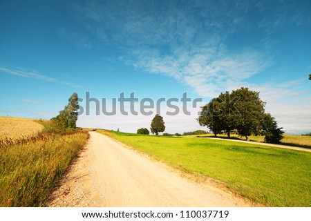 Rural road in latvian landscape. - stock photo