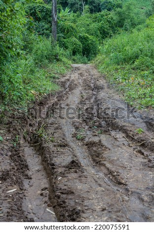 rural road in maehongson country ,thailand - stock photo