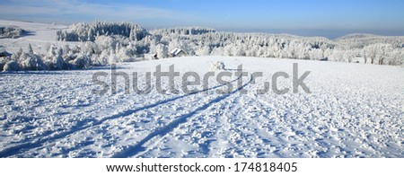 Rural road in snow. Winter country landscape. - stock photo
