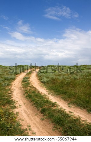 Rural road in steppe