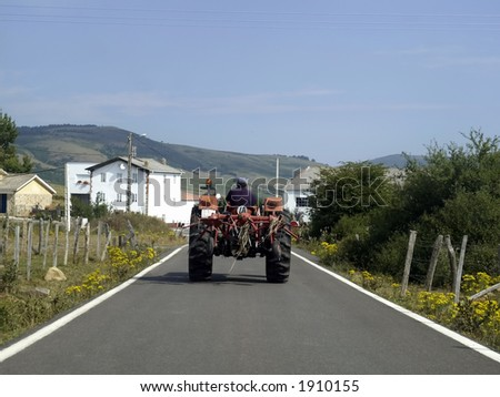 rural road in the Ebro's embalse in Cantabria, Spain.