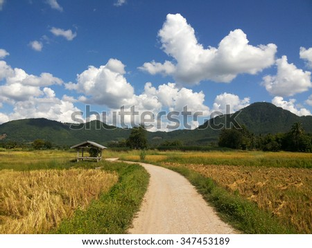 Rural road in the mountain under blue sky with clouds background ,way in the farm - stock photo