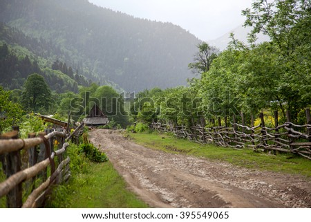 rural road in the mountains in the Western Caucasus
