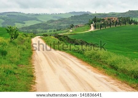 Rural road in Tuscany leads to the farm. - stock photo