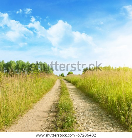 Rural road on sunny day. - stock photo