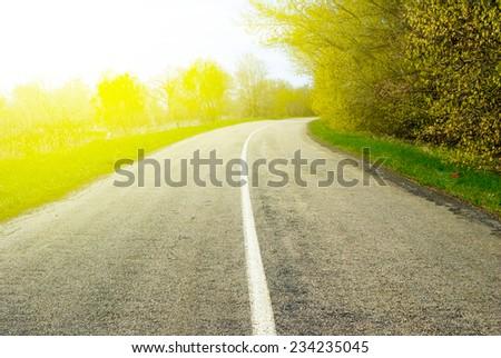 rural road scene - stock photo