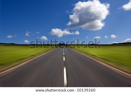 long road stretching out into distance stock photo 9484108