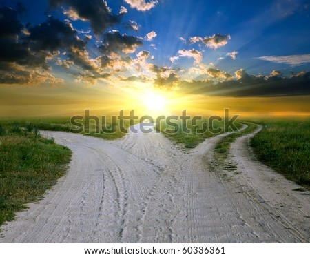 rural road to sunset - stock photo
