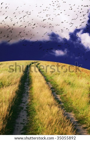 Rural road under stormy sky. - stock photo