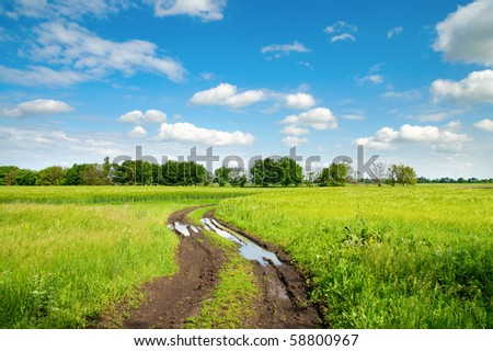 rural road with puddle in green field - stock photo