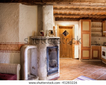 Rural Room with Chimney - stock photo