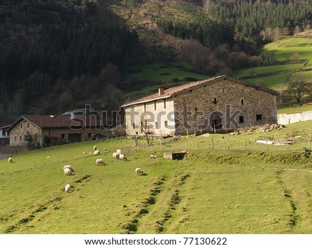 Rural scene of a typical Basque country farmhouse in Atxondo - stock photo