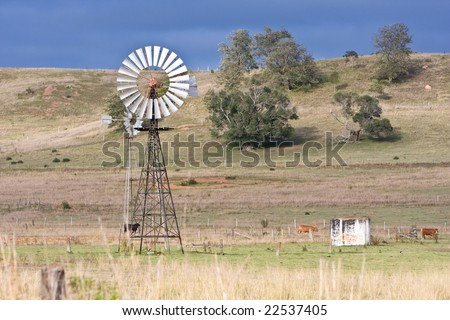 rural scene with windmill in country field
