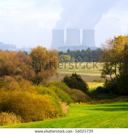 Rural South Bohemian landscape with nuclear power plant Temelin. - stock photo