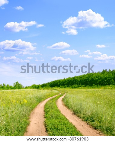 Rural summer landscape with old road - stock photo