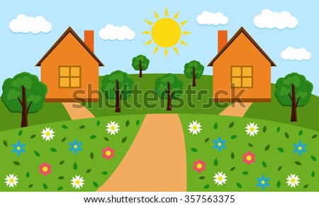 Rural sunny landscape with houses, hills, road, trees and flowers. - stock photo