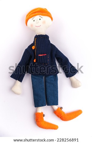 Rural textile doll. - stock photo