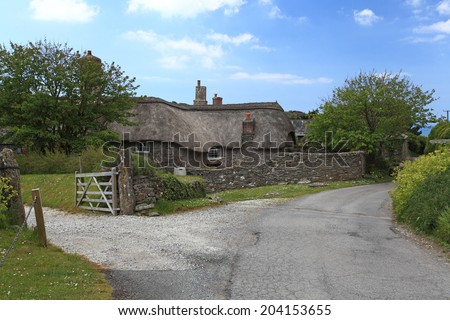 Rural Thatched cottage in the South hams South Devon England - stock photo