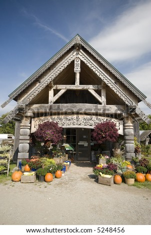 rural vermont road side retail store farm vegetable stand - stock photo