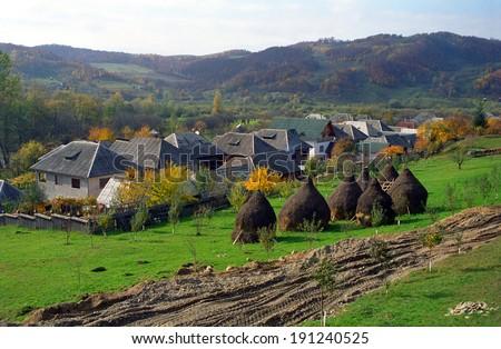 Rural village in Maramures region, Romania - stock photo