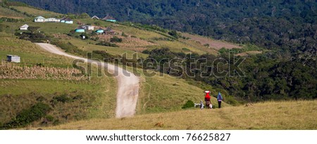rural village in south africa - stock photo