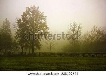 Rural village scenery in morning fog, Prigorje region of Croatia - stock photo