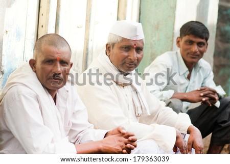 Rural villagers Salunkwadi, Beed, Maharashtra, India - stock photo