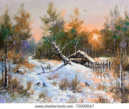 Rural winter landscape - stock photo