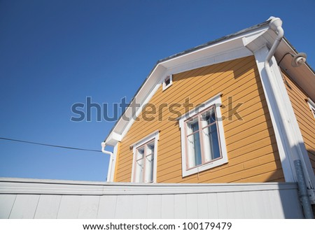 Rural yellow wooden house. Porvoo, Finland