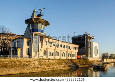 RUSE, BULGARIA, APRIL 2, 2015:view of the building of port authority situated in bulgarian city rousse.