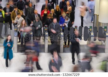 Rush hour at Waterloo train station, London - stock photo