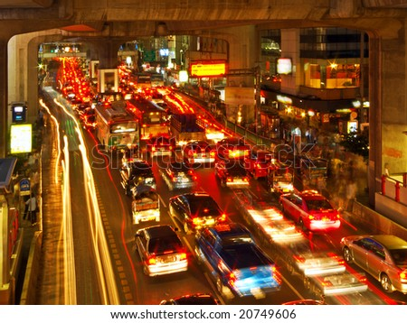 Rush Hour in Bangkok Centre - stock photo