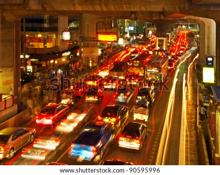 Rush Hour in Bangkok City Centre, Thailand - stock photo