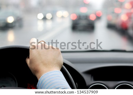 Rush hour in city abstract - stock photo