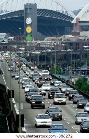 Rush Hour in Seattle - stock photo