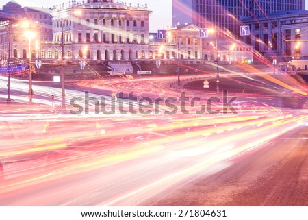 Rush hour in the historical city center. - stock photo