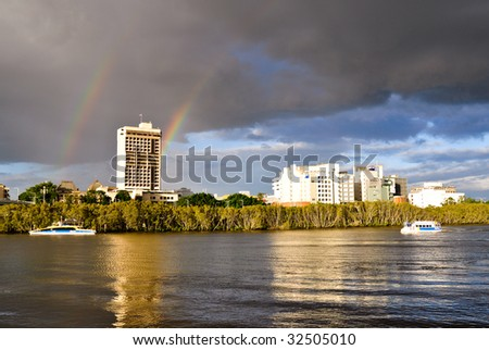 Rush hour on the Brisbane River - stock photo