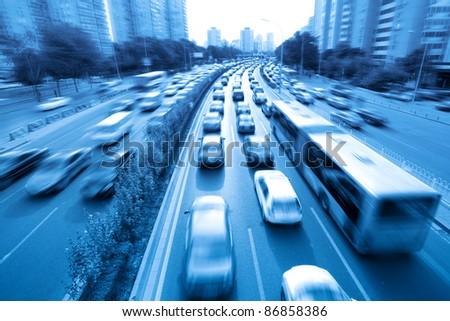 rush hour traffic in beijing,China - stock photo