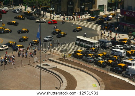 Rush hour traffic, taxis, aerial view,	Avenue of 9th July,	Buenos  Aires,	Argentina