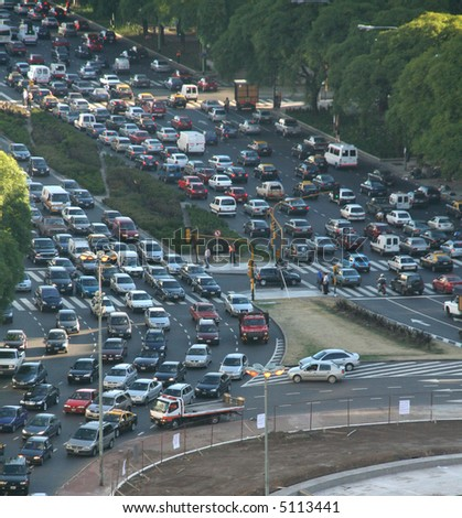 Rush hour traffic, twilight, aerial view,Avenue of 9th July,Buenos  Aires,Argentina - stock photo