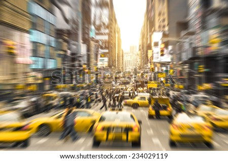 Rush hour with yellow taxi cabs and melting pot people on 7th av. in Manhattan downtown before sunset - Bright blurred defocused postcard of New York City and his crowded traffic jam - stock photo