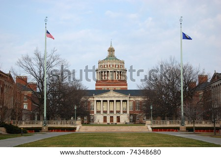 Rush Rhees Library in University of Rochester, New York State, USA - stock photo